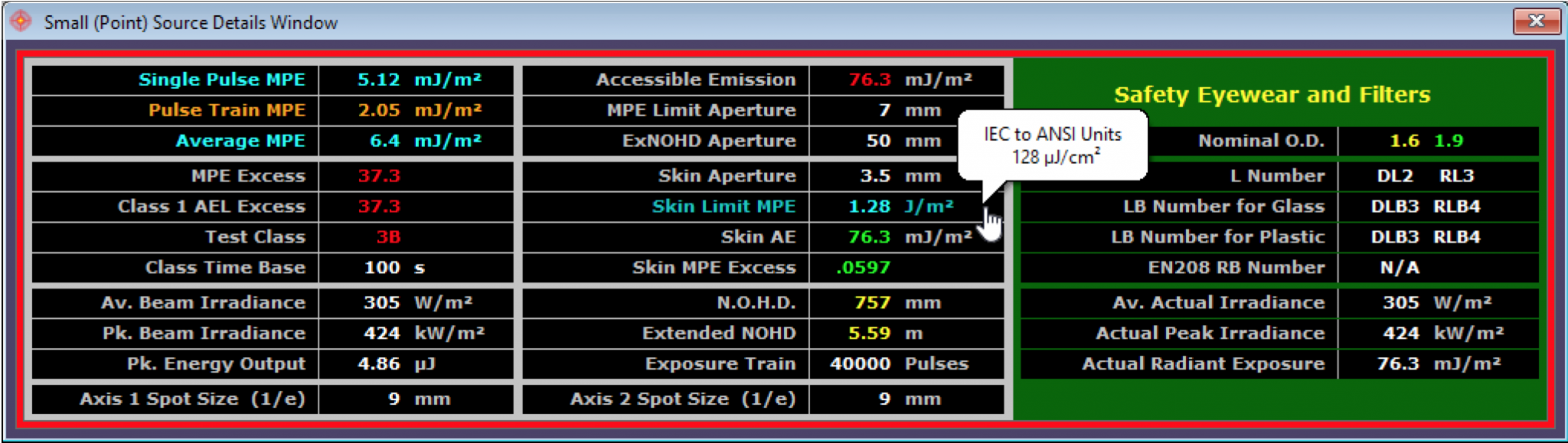 Calculation Details and PPE & Filter Selection